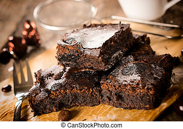 Yummy brownies - Selective focus on the front homemade...