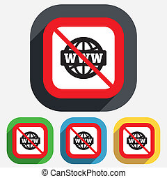 No internet. WWW sign icon. World wide web.