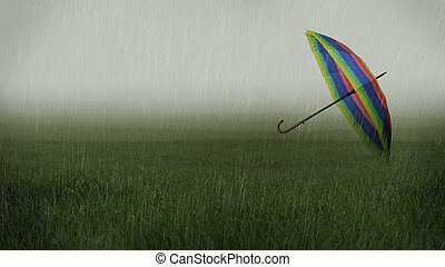 Rainy landscape with umbrella carried away by the wind