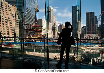 People looking at World Trade Center site - People in...
