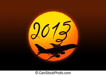 Novo, ano, 2015, desenho, avião, frente, sol