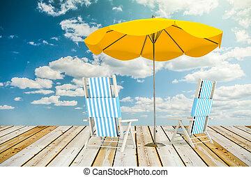 太陽, loungers, 傘