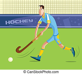 Field Hockey Player - cartoon style field hockey player in...