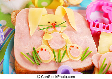 easter sandwich with bunny for kids - easter sandwich with...