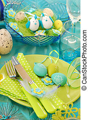 easter table decoration in pistachio and turquoise colors -...