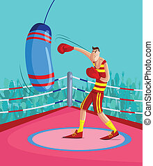 Kick Boxer - cartoon style Kick Boxer in vector