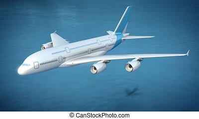Plane flies over the sea, loop-ready 3d animation
