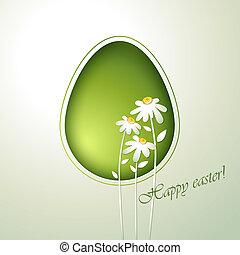 Floral green easter egg.