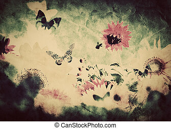Vintage image of flowers and butterfly at spring summer time...