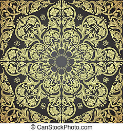 Damask Seamless With Baroque Ornaments - Damask seamless...