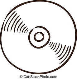CD or DVD symbol. - Isolated sketch icon pictogram. Eps 10...