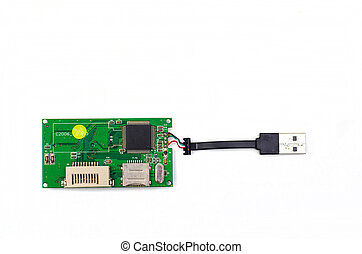 All in one CF, SD, MMC adapter isolated on white background
