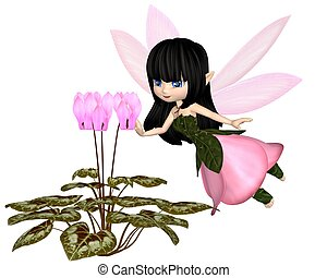 Toon Pink Cyclamen Fairy, Flying - Cute toon dark haired...