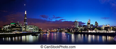 London skyline panorama at night, England the UK. Tower of...