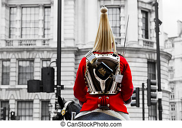 A Royal Horse Guards soldier. Horse guards parade in London,...