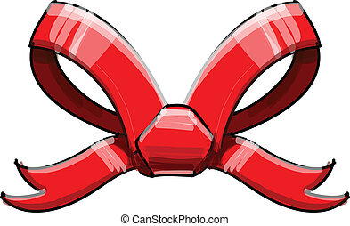 Red bow isolated on white vector illustration