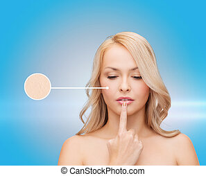 woman touching her lips - health and beauty concept -...