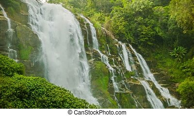 High mountain waterfall near Chiang Mai, Thailand - Video...