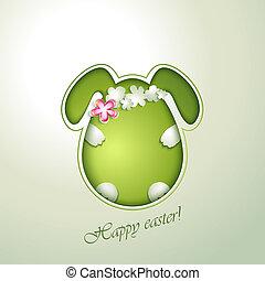 Green easter egg rabbit.