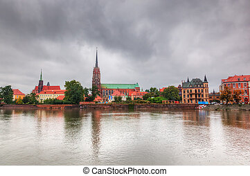 Wroclaw, Poland. Ostrow Tumski and Oder River. Also known as...