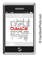 Dance Word Cloud Concept on Touchscreen Phone