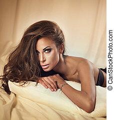 Portrait of sexy brunette beauty