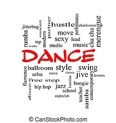 Dance Word Cloud Concept in red caps with great terms such...