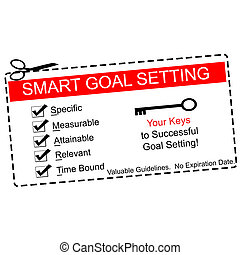Smart Goals Setting Coupon Concept - A red, white and black...