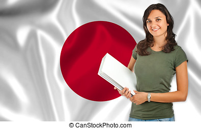 Female student over Japanese flag - Young female student...
