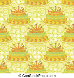 Seamless background, holiday pie decorated with oranges,...
