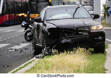 SERBIA, BELGRADE - MAY 12, 2013: Damaged black car after...
