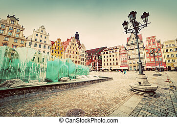 Wroclaw, Poland. The market square with the famous fountain...