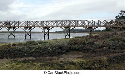 Footbridge over Ria Formosa heading to famous Quinta do Lago...