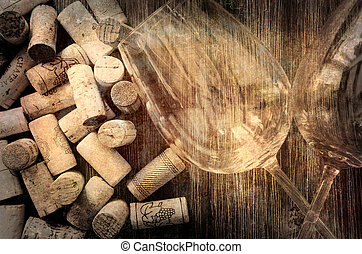 Detail of wine glasses and corks in filtered vintage style -...