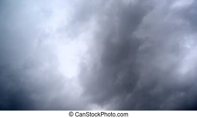 Dramatic Sky with dark stormy white clouds, time lapse shot.