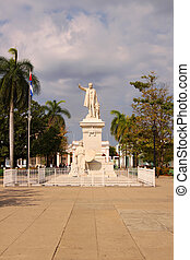Central Square or Plaza in Cienfuegos, Cuba - Statue of Jose...