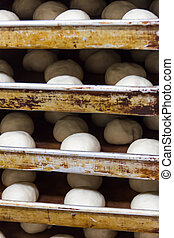 production of bread,kitchen of a chinese restaurant