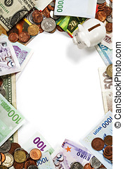 Foreign coins and banknotes frame Money background