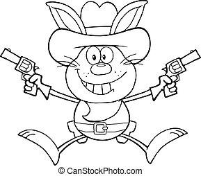 Black And White Cowboy Rabbit