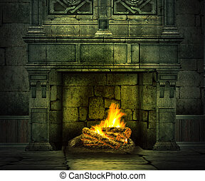 Fireplace Medieval Background