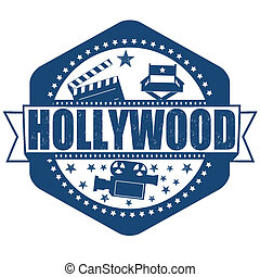 Hollywood stamp - Hollywood grunge rubber stamp on white,...