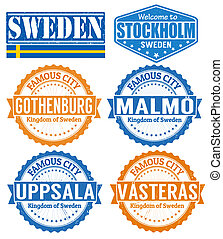 Sweden cities stamps - Set of grunge rubber stamps with...