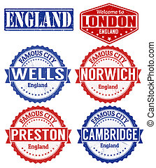 England cities stamps - Set of grunge rubber stamps with...