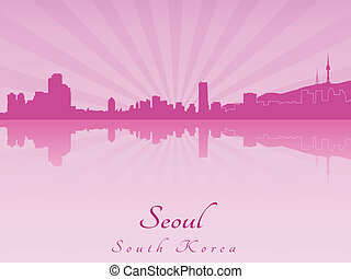 Seoul skyline in purple radiant orchid in editable vector...
