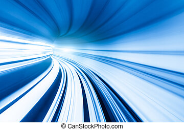 Abstract train moving in tunnel