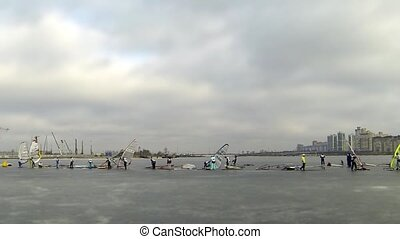 Start race on the ice windsurfing - World Cup in sailing in...