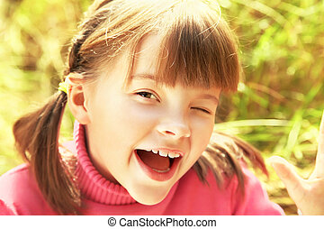 Portrait of cheerful girl - Portrait of a cheerful happy...
