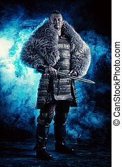 reenactment - Portrait of a courageous ancient warrior in...