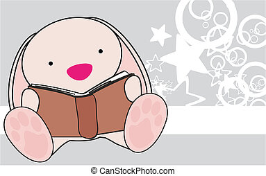 bunny baby reading cartoon wallpaper in vector format
