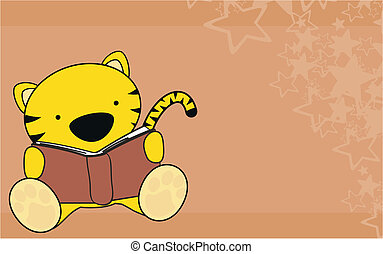 tiger baby reading cartoon wallpaper in vector format